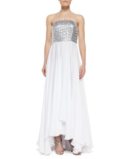 Milly Layne Sequin & Jersey Strapless High-Low Gown