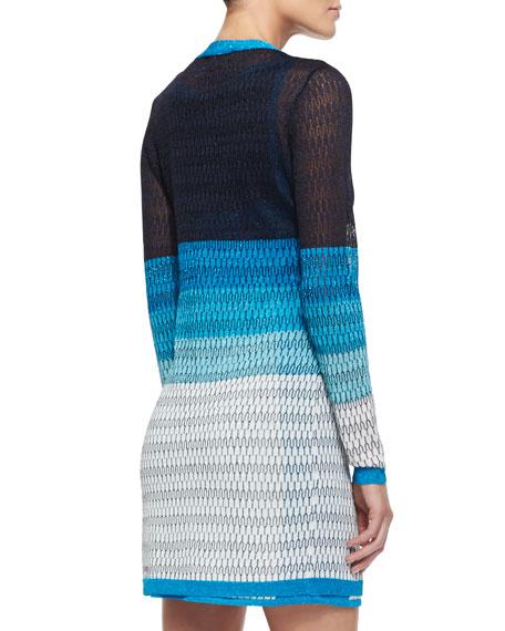 Long Open-Stitch Colorblock Cardigan
