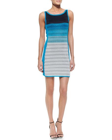 Striped Open-Stitch Tank Dress