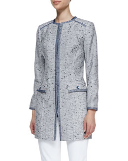 Magaschoni Long Tweed Jacket with Organza Trim