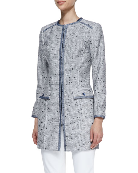 Long Tweed Jacket with Organza Trim
