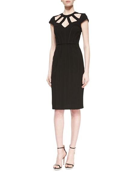 Ronesha Yoke-Cutout Dress, Black