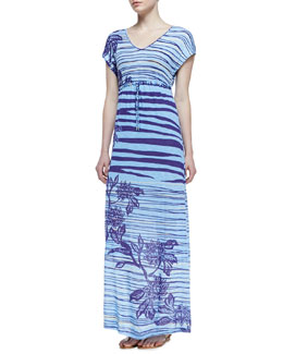 Tommy Bahama Dunns River Short-Sleeve Maxi Dress, Light Blue