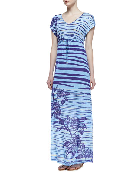 Dunns River Short-Sleeve Maxi Dress, Light Blue