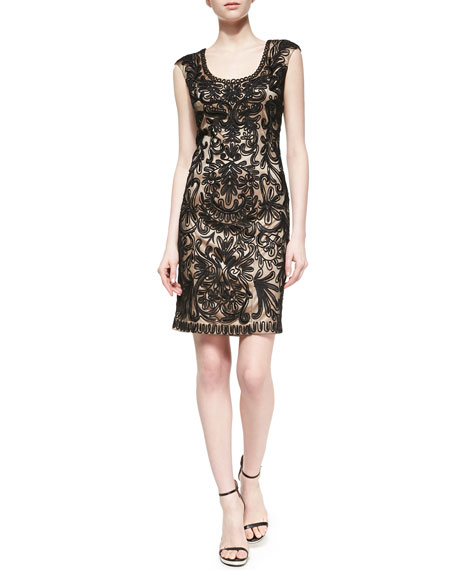 Passementerie Sheath Cocktail Dress, Black/Nude