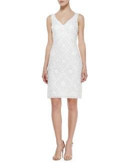 Sue Wong Sleeveless Passementerie Dress, White