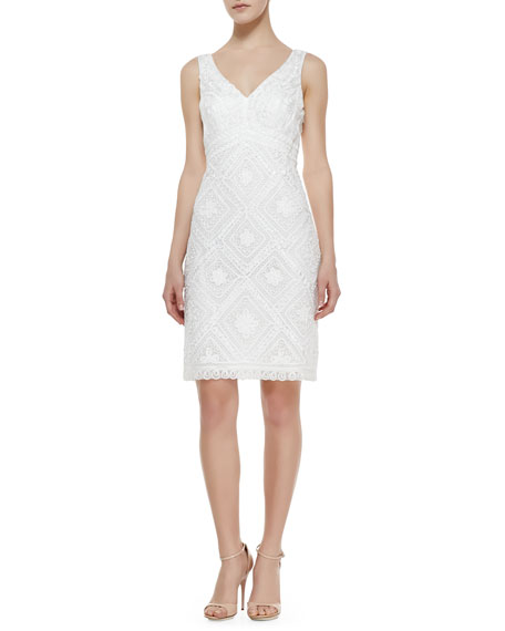 Sleeveless Passementerie Dress, White