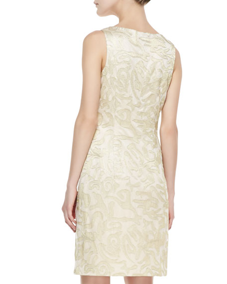 Sleeveless Metallic Jacquard Sheath Dress