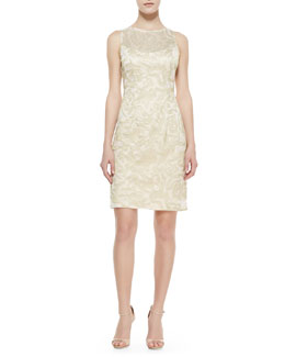 Sue Wong Sleeveless Metallic Jacquard Sheath Dress
