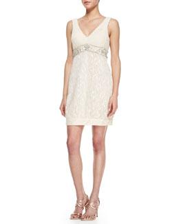 Sue Wong V-Neck Lace-Skirt Dress