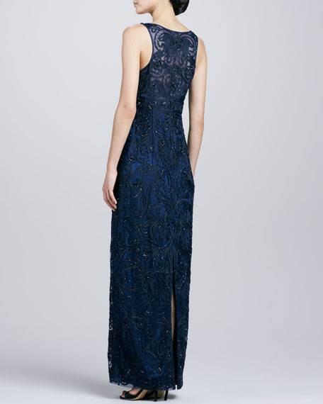 Embroidered V-Neck Gown, Navy
