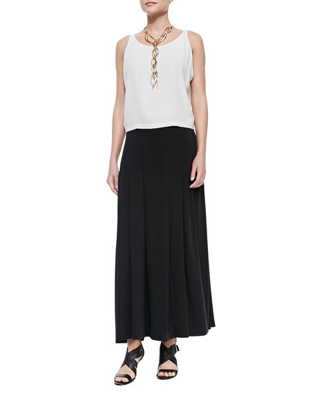 Silk Pleated Maxi Skirt