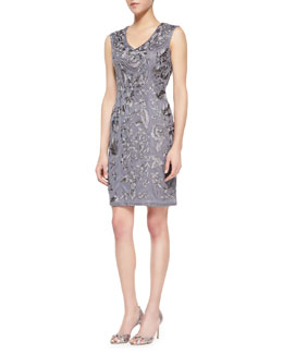 Sue Wong Sleeveless Floral Sheath Dress