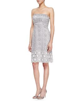 Sue Wong Strapless Embellished Sheath Dress, Platinum