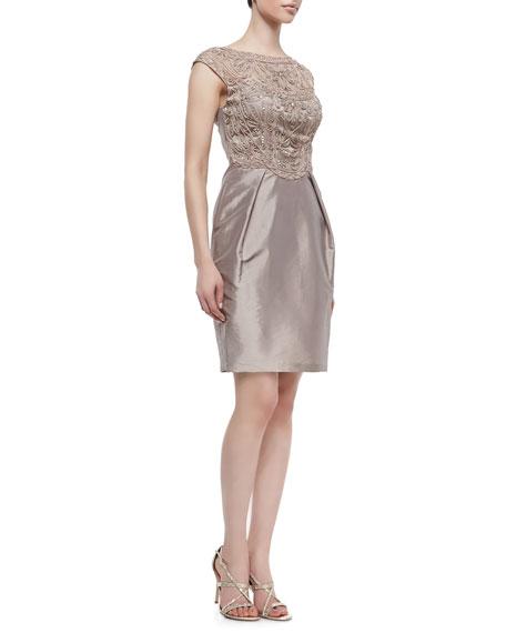 Cap-Sleeve Short Cocktail Dress