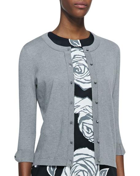 somerset button-down cardigan, gray melange