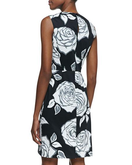 abbey sleeveless aires rose sheath dress, black/white