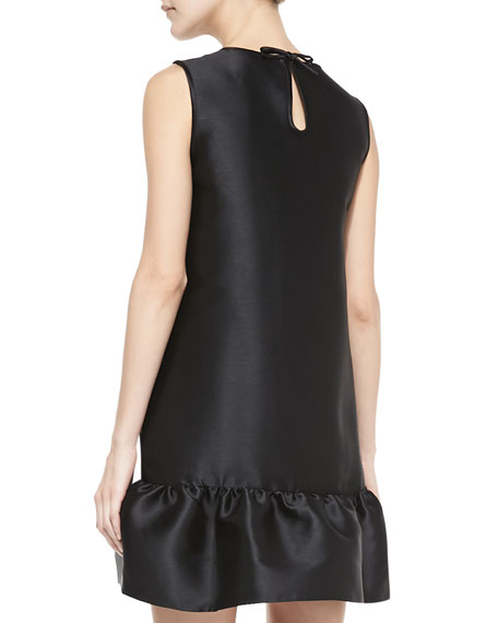 sleeveless flounce-hem drop-waist dress