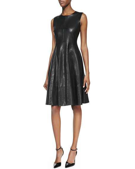 sleeveless leather fit-and-flare dress