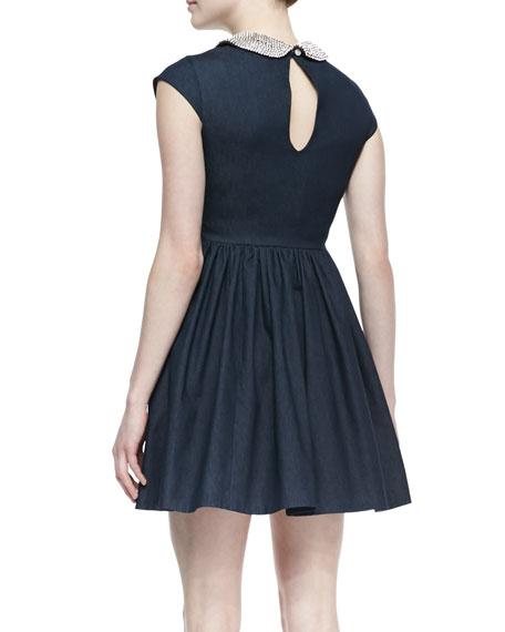 kimberly denim crystal-collar dress