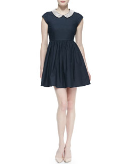 kate spade new york kimberly denim crystal-collar dress