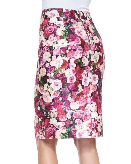 rose-print cotton-silk pencil skirt