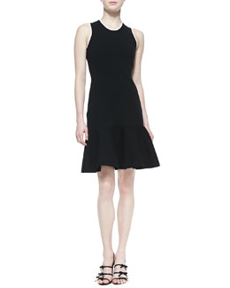 kate spade new york sleeveless fluted sweater dress, black
