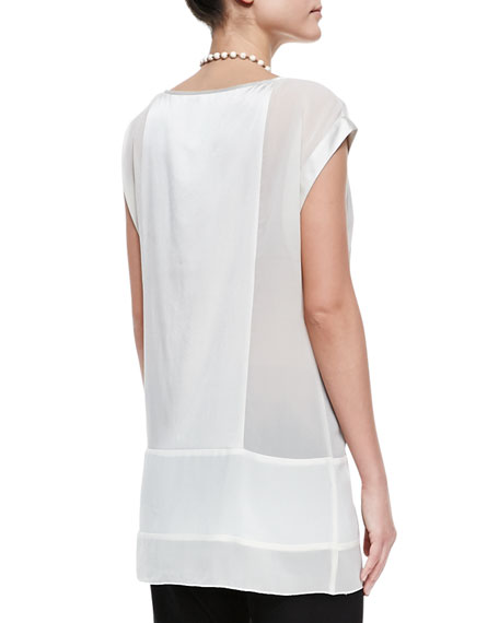 Silk Cap-Sleeve Tunic, Petite