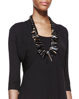 Eileen Fisher Half-Sleeve Shrug, Black