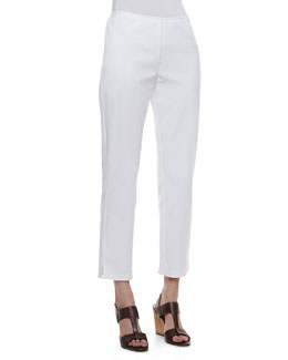 Eileen Fisher Twill Slim Ankle Pants, White, Petite