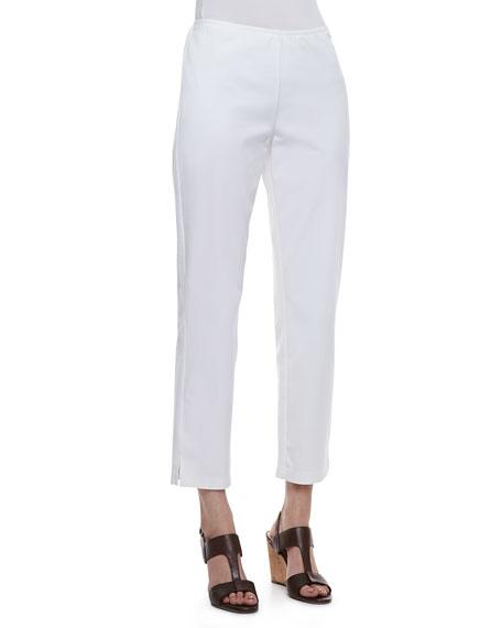 Twill Slim Ankle Pants, White, Petite
