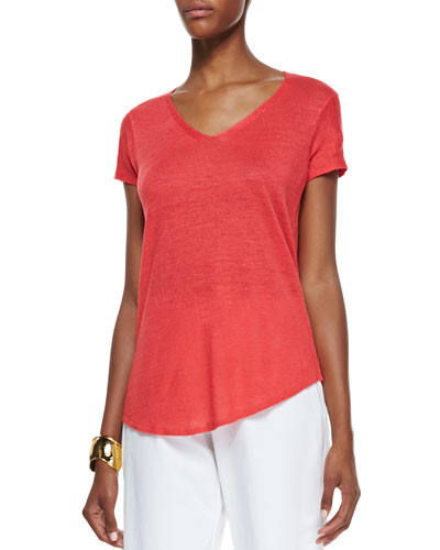 Eileen Fisher Lightweight Organic V-Neck Top, Strawberry, Petite