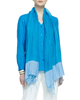 Eileen Fisher Color-Tipped Gauze Scarf, Atlantis