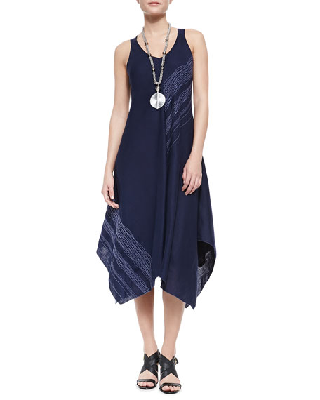 Sleeveless V-Neck Asymmetric Dress, Midnight