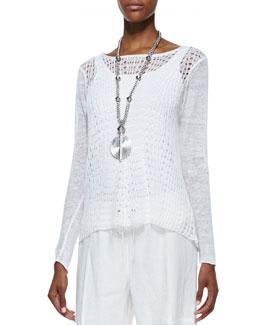 Eileen Fisher Organic Linen Wavy-Stitch Top