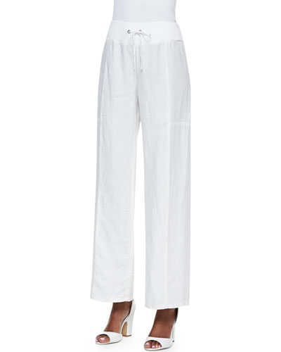 Eileen Fisher Organic Wide-Leg Linen Pants