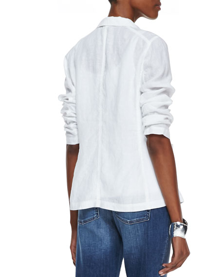 Handkerchief Linen 2-Button Jacket, White