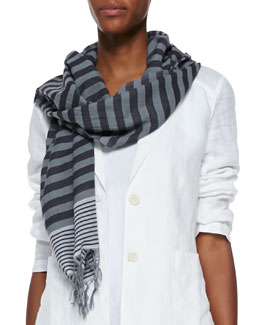 Eileen Fisher Multi-Striped Cotton Scarf, Pewter
