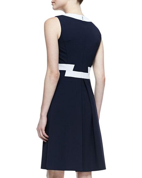 Sleeveless Colorblock A-Line Dress, Navy/White