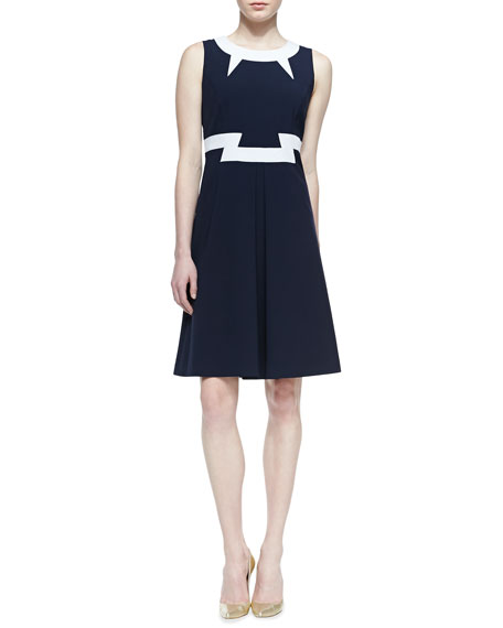 Sleeveless Colorblock A-Line Dress, Navy/White
