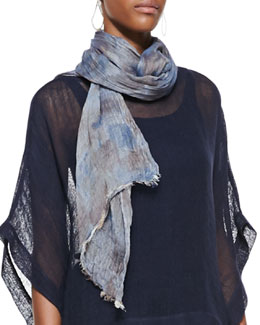 Eileen Fisher Hazy Printed Scarf, Denim