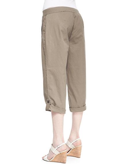 Twill Cuff Capri Pants