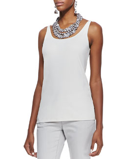Eileen Fisher Silk Jersey Long Slim Camisole, Soft White, Petite