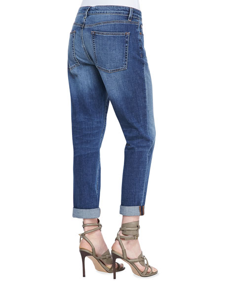 Stretch Boyfriend Jeans, Aged Indigo