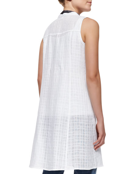 Open-Weave Sleeveless Linen Dress