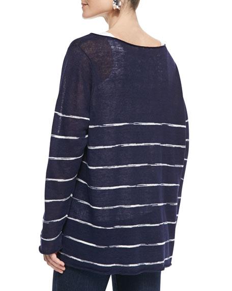 Space-Dye Striped Long-Sleeve Top, Petite