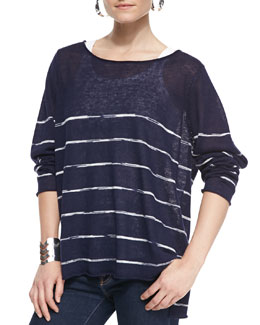 Eileen Fisher Space-Dye Striped Long-Sleeve Top, Petite