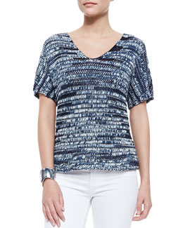 Eileen Fisher Brushstroke V-Neck Top, Denim