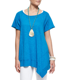 Eileen Fisher Cap-Sleeve Linen Asymmetric Top