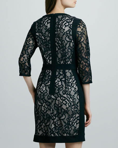 Lace Three-Quarter-Sleeve Dress